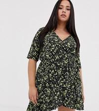 Pink Clove Exclusive Mini Wrap Dress In Neon Floral Green