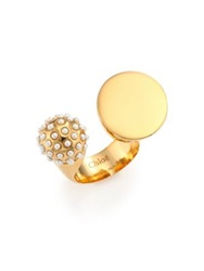 Chlo Darcey Faux Pearl Sphere Open Ring Gold
