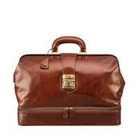Maxwell Scott Bags Luxury Italian Leather Doctor Bag Large Donnini Chestnut Tan Brown