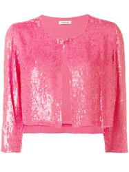 P.A.R.O.S.H. Cropped Sequin Cardigan Pink Purple