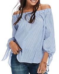 Scotch And Soda Stripe Off The Shoulder Shirt Combo S