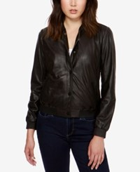 Lucky Brand Leather Bomber Jacket Lucky Black