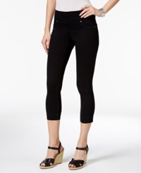 Style And Co Petite Ella Pull On Rinse Wash Capri Jeans Only At Macy's Deep Black