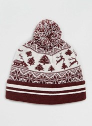 Topman Burgundy Christmas Scene Bobble Beanie Red