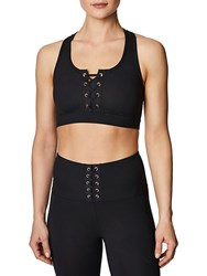 Betsey Johnson Medium Impact Lace Up Sports Bra Black