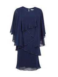 Gina Bacconi Chiffon Shawl And Beaded Edge Dress Navy