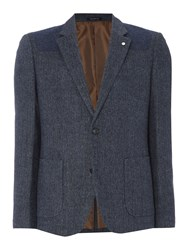 Peter Werth Men's Pilot Herringbone Cut And Sew Blazer Navy