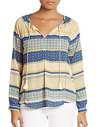 Collective Concepts Mixed Print Peasant Top Multicolor