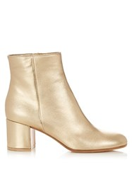 Gianvito Rossi Margaux Block Heel Leather Ankle Boots Gold
