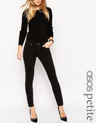 Asos Petite Pencil Straight Leg Jeans In Washed Black Black
