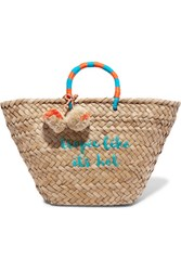 Kayu St Tropez Pompom Embellished Embroidered Woven Straw Tote Turquoise