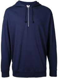 H Beauty And Youth Zip Neck Hoodie Blue