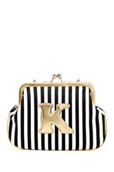 Melie Bianco Striped Initial Pouch K Multi
