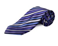 Double Two Extra Long Stripe Tie Blue