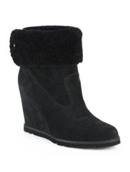 Ugg Kyra Suede And Shearling Wedge Booties Grey Black