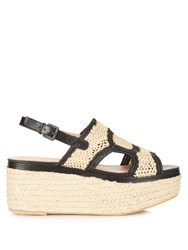 Robert Clergerie Antic Raffia And Leather Flatform Sandals Black Beige