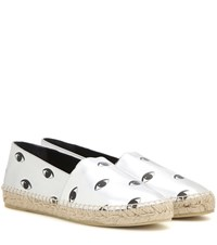Kenzo Printed Metallic Leather Espadrilles Silver