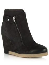 Daniel Adorable Two Zip Wedge Ankle Boots Black