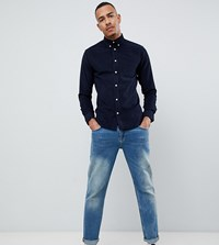 D Struct Tall Fine Needle Cord Shirt Navy