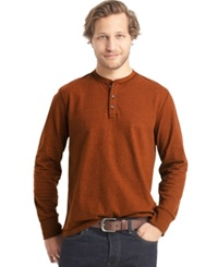 G.H. Bass And Co. Long Sleeve Henley T Shirt Saffron Spice Heather