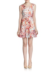 Saks Fifth Avenue Red Floral Print Perforated Scuba Dress Coral Multi