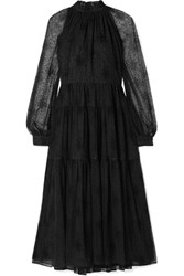Co Ruffled Tiered Embroidered Tulle Midi Dress Black