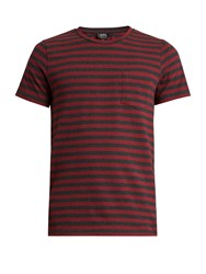 A.P.C. Crew Neck Striped Jersey T Shirt Red Multi