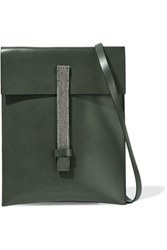 Brunello Cucinelli Embellished Leather Shoulder Bag Charcoal