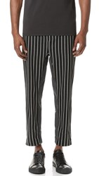 3.1 Phillip Lim Pinstripe Relaxed Tapered And Cropped Sweatpants Black