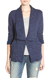 Women's Caslon Roll Sleeve Knit Blazer Navy Peacoat White Pattern