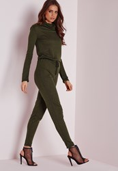 Missguided Long Sleeve Ribbed Drawstring Jumpsuit Khaki Beige