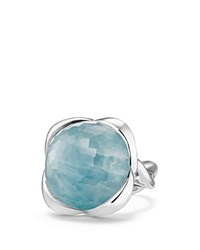 David Yurman Continuance Ring With Milky Aquamarine Blue Silver