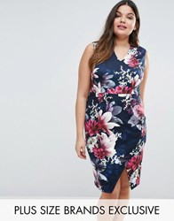 Coast Plus Floral Print Scuba Pencil Dress Navy