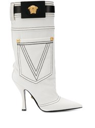 Versace Pocket Detail Boots White