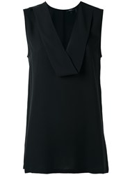 Theory V Neck Tank Top Black