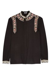 Vilshenko Rachel Embroidered Wool And Cashmere Blend Blouse Black