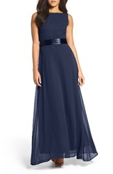 Lulus Women's Belted V Back Chiffon Gown Navy