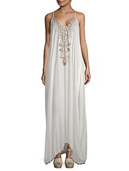 Saks Fifth Avenue Beaded Maxi Peasant Dress White