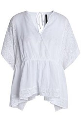 W118 By Walter Baker Broderie Anglaise Trimmed Wrap Effect Cotton Top Off White Off White