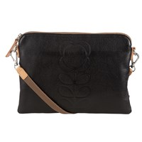 Orla Kiely Leather Travel Pouch Black