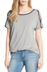 Wit And Wisdom Polka Dot Twist Front Cold Shoulder Top Heather Grey