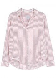 Rails Florence Striped Linen Blend Shirt Red And White