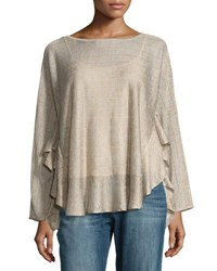 Marled By Reunited Clothing Illusion Striped Sweater W Ruffled Hem Gold
