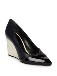 Lanvin Croise Leather And Patent Wedge Pumps Black