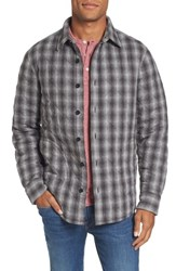 Nordstrom Men's Big And Tall Men's Shop Quilted Shirt Jacket Grey Phantom Ombre Plaid