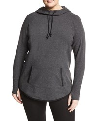 Marc Ny Performance Plus Hooded Sweatshirt W Faux Leather Trim Charcoal