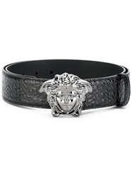 Versace Crocodile Effect Medusa Palazzo Belt Men Calf Leather 105 Black