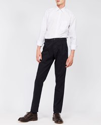Aspesi Garment Dyed Cotton Pleated Trousers Funzionale Pince Navy Blue