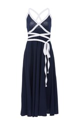 Mds Stripes Talitha Criss Cross Dress Navy