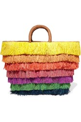 Kayu Pinata Leather Trimmed Fringed Straw Tote Yellow